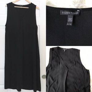 Eileen fisher black silk shift V-neck dress